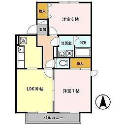 セジュールタケイシA[1階]の間取り