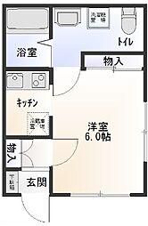 埼玉県越谷市蒲生茜町の賃貸アパートの間取り