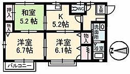 シャーメゾン長崎[A201号室]の間取り
