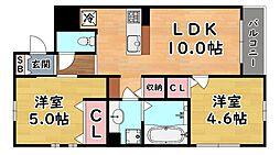 JR東海道・山陽本線 六甲道駅 徒歩6分の賃貸マンション 2階2LDKの間取り