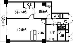 PRIME URBAN札幌 RIVER FRONT[01005号室]の間取り