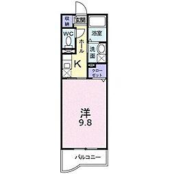 JR中央本線 竜王駅 徒歩13分の賃貸マンション 1階1Kの間取り