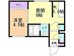 オルキデア東本願寺 5階1DKの間取り