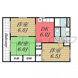 JR成田線 酒々井駅 徒歩12分の賃貸マンション 2階3DKの間取り