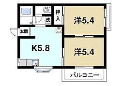 平松ハイツC[2階]の間取り