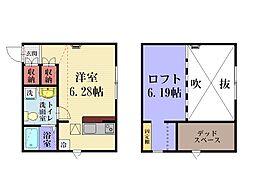 神奈川県横須賀市汐入町4丁目の賃貸アパートの間取り
