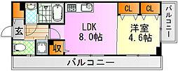 JR芸備線 矢賀駅 徒歩13分の賃貸マンション 6階1LDKの間取り