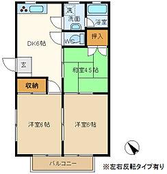 埼玉県春日部市一ノ割2丁目の賃貸アパートの間取り