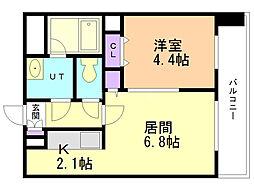 レジディア札幌駅前 9階1DKの間取り