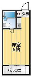 千里山コーポ 2階1Kの間取り