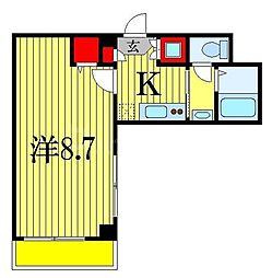 JR総武線 船橋駅 徒歩10分の賃貸マンション 3階1Kの間取り