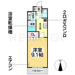 愛知県名古屋市南区阿原町の賃貸アパートの間取り