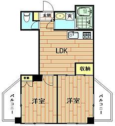神奈川県川崎市中原区小杉町1丁目の賃貸アパートの間取り