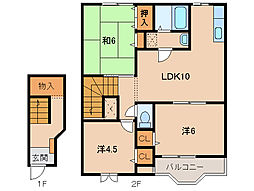 和歌山県岩出市中島の賃貸アパートの間取り