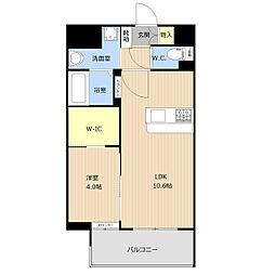 西鉄天神大牟田線 高宮駅 徒歩7分の賃貸マンション 3階1LDKの間取り