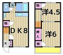 埼玉県三郷市戸ケ崎4丁目の賃貸アパートの間取り