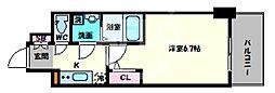 エスリード大阪上本町グリーズ 9階1Kの間取り