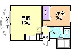 メゾンSaKuRaII 4階1LDKの間取り