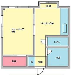 東京都世田谷区砧6丁目の賃貸アパートの間取り