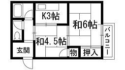 マスミマンション[4階]の間取り