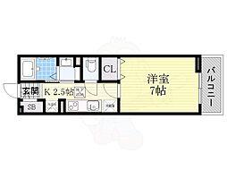 京阪本線 樟葉駅 徒歩18分の賃貸アパート 1階1Kの間取り