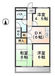愛知県清須市阿原神門の賃貸アパートの間取り