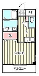 飯塚AKTハウス 2階1Kの間取り