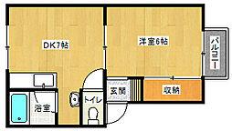 京都府京都市山科区厨子奥苗代元町の賃貸アパートの間取り