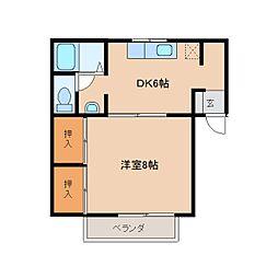 奈良県橿原市石原田町の賃貸アパートの間取り