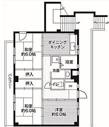 ビレッジハウス亀井野 3号棟[404号室]の間取り