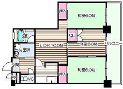 パークサイド西梅田[9階]の間取り