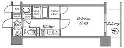 エスリード中之島クロスゲート 2階1Kの間取り