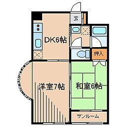 冨士山ビル[4階]の間取り