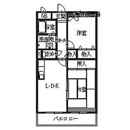 大阪府八尾市高安町南3丁目の賃貸マンションの間取り