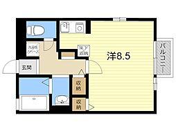 JR日豊本線 国分駅 徒歩12分の賃貸アパート 1階ワンルームの間取り