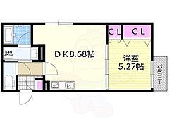 KTIレジデンス加島2 1階1DKの間取り