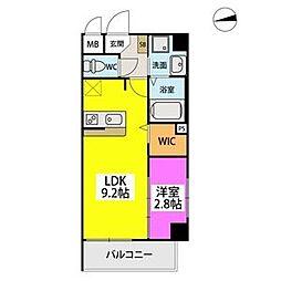 シエル姪浜駅南 3階1LDKの間取り