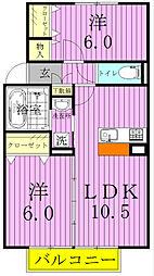 埼玉県三郷市栄3丁目の賃貸アパートの間取り