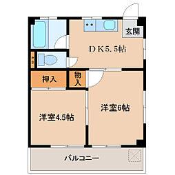 埼玉県坂戸市花影町の賃貸マンションの間取り