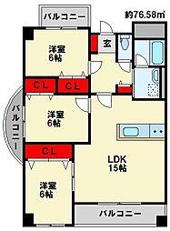 パークサイド黒崎[1階]の間取り