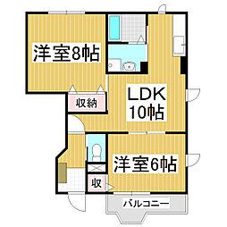 長野県松本市浅間温泉1の賃貸アパートの間取り