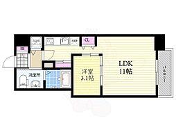 ロッカベラアパートメント 8階1LDKの間取り