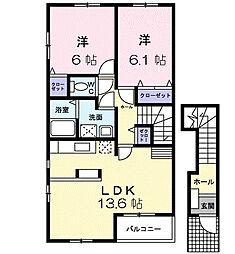 神奈川県藤沢市石川2丁目の賃貸アパートの間取り