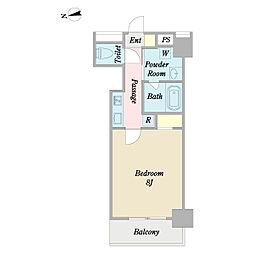 東京メトロ東西線 木場駅 徒歩4分の賃貸マンション 2階1Kの間取り