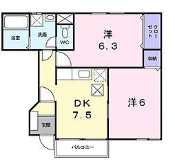 横浜市緑区西八朔町 ピュアコーポ[1階]の間取り