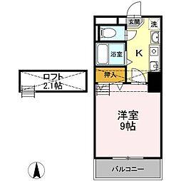 ロイヤルキャビン井坂[3階]の間取り