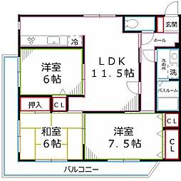 東京都立川市錦町2丁目の賃貸マンションの間取り