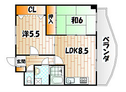 クラブハウス熊本[4階]の間取り