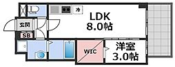 セレニテ谷九プリエ 6階1LDKの間取り