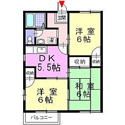 神奈川県足柄上郡大井町金子の賃貸アパートの間取り